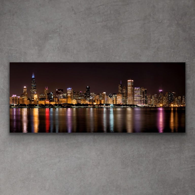 """Chicago Night Skyline, Original Photography, 60"""" Giclee on Metal, by Scott F. For Sale 3"""