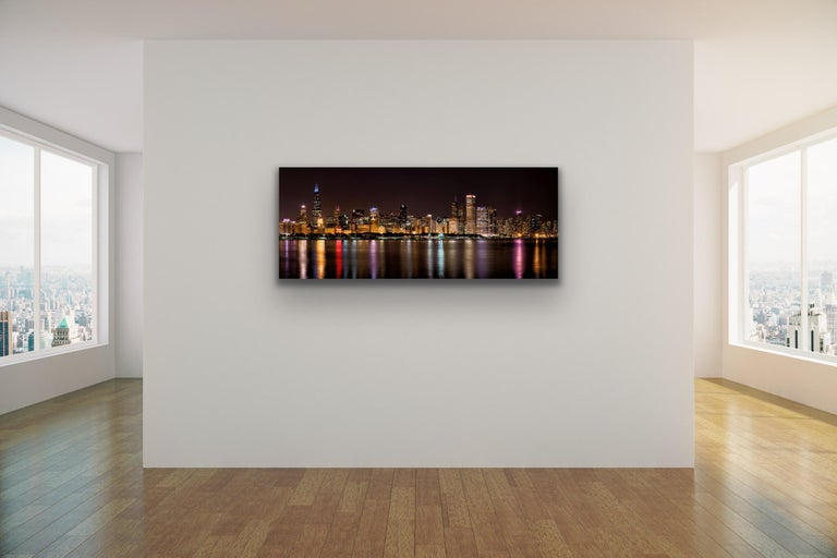 """Chicago Night Skyline, Original Photography, 60"""" Giclee on Metal, by Scott F. For Sale 1"""