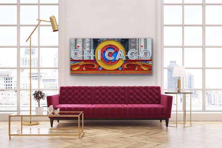 Chicago Theatre Marquee, Original Photography, Giclee on Metal, by Scott F. - Print by Scott F.