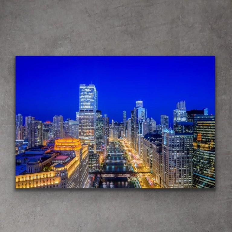 Scott F Aerial Chicago Twilight Cityscape Landscape Photography On Metal By Scott F For Sale At 1stdibs