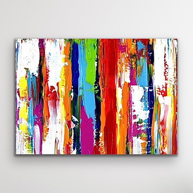Contemporary Colorful Abstract Painting, Modern Giclee Print on Metal, by Cessy  For Sale 6
