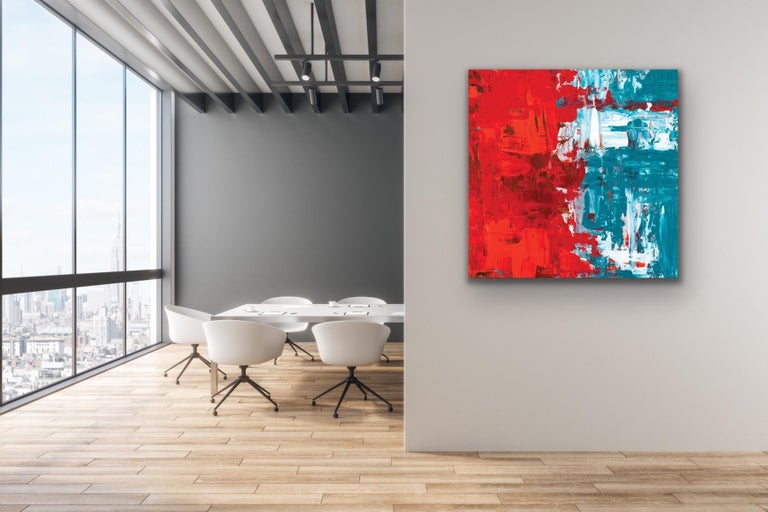 This modern abstract painting is printed on a lightweight metal composite and is suitable for indoor or outdoor decor. This open edition print of Celeste Reiter's original painting is signed by the artist.   -Artist: Celeste Reiter -Open Edition -