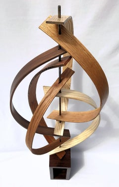 Large Free Standing Wood Sculpture Mid Century Modern Contemporary Art Deco