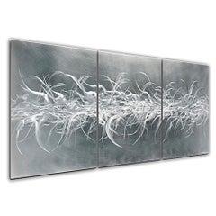 Sebastian R. Raw Hand-Ground Metal Hanging Wall Sculpture Modern Contemporary
