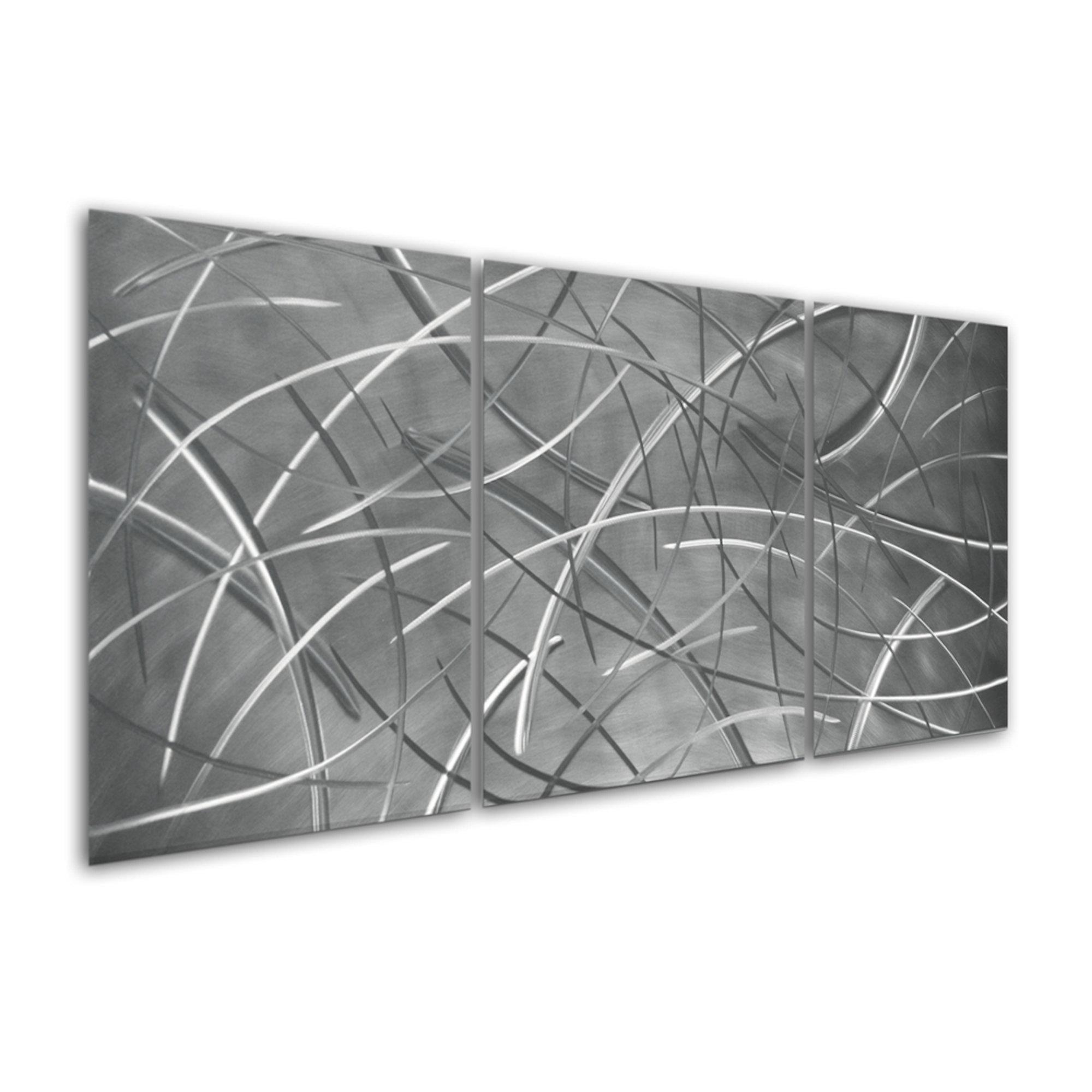 Large Metal Triptych Wall Art Contemporary Modern Sculpture Art by Sebastian R.