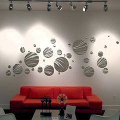 Sebastian R. Large Contemporary Modern Industrial Metal Hanging Wall Decor Set