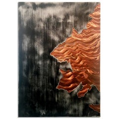 Large Copper Aluminum Wall Art Painting Silver Gray Modern Contemporary Painting