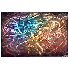 Large Modern Industrial Abstract Painting Original Metal Wall Art Contemporary