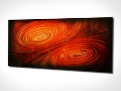 Modern Contemporary Metal Abstract Wall Art Red Orange Painting Decor Industrial