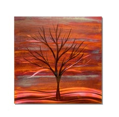 Copper Landscape Winter Tree Metal Wall Art Sculpture Modern Contemporary Decor