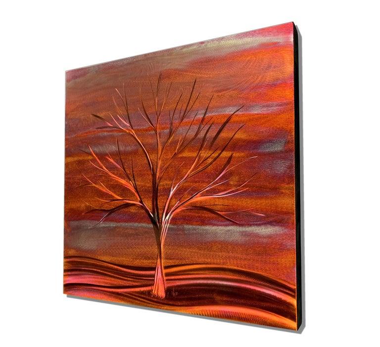 Copper Landscape Winter Tree Metal Wall Art Sculpture Modern Contemporary Decor - Abstract Mixed Media Art by Sebastian Reiter