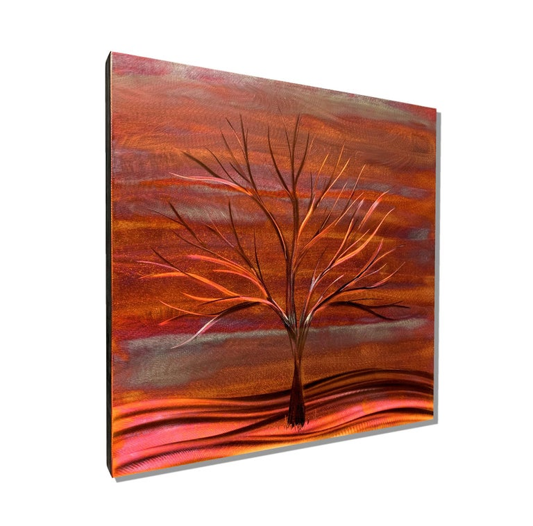 By subjecting sheets of copper to ultra-high temperatures, Sebastian is able to manipulate rich shades of red, orange, purple, and blue.  The image is hand ground in multiple layers which captures movement and life in this stunning copper