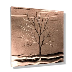 Winter Landscape Tree Copper Metal Wall Art  Sculpture Modern Contemporary Decor