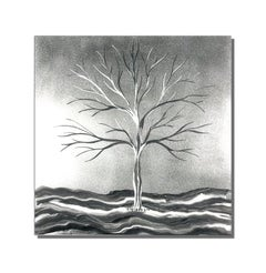 Silver Winter Landscape Tree Metal Wall Art  Sculpture Modern Contemporary Decor