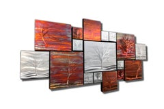 Multi Panel Metallic Copper Landscape Trees Wall Art Botanical Carving Sculpture