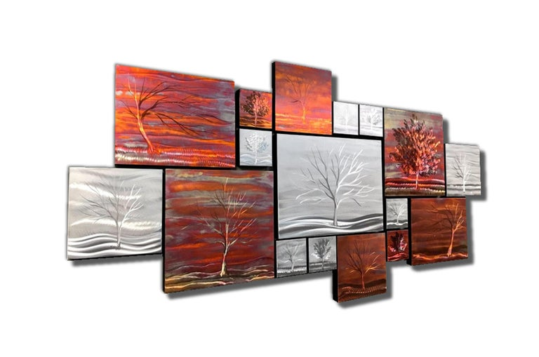 Multi Panel Metallic Copper Landscape Trees Wall Art Botanical Carving Sculpture - Mixed Media Art by Sebastian Reiter