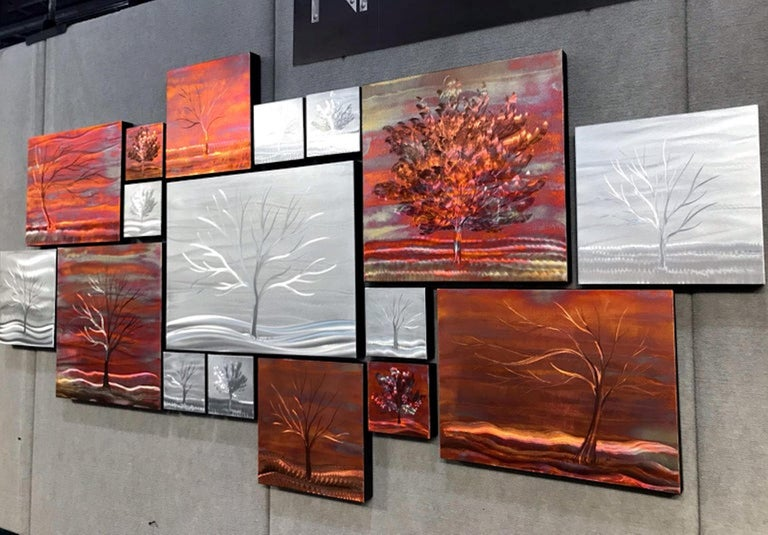 Multi Panel Metallic Copper Landscape Trees Wall Art Botanical Carving Sculpture - Abstract Mixed Media Art by Sebastian Reiter