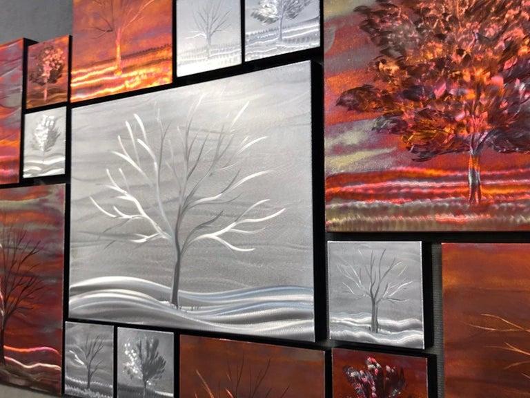 Multi Panel Metallic Copper Landscape Trees Wall Art Botanical Carving Sculpture For Sale 1