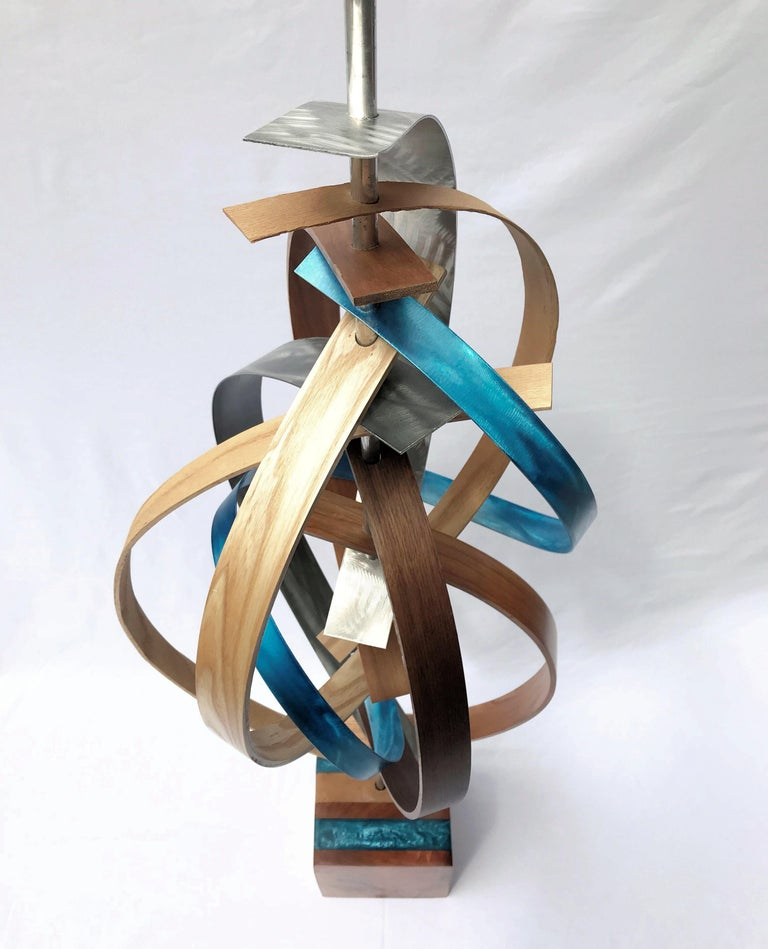 Wood and Metal Free-Standing Sculpture Mid-Century Modern Contemporary Rustic  For Sale 1