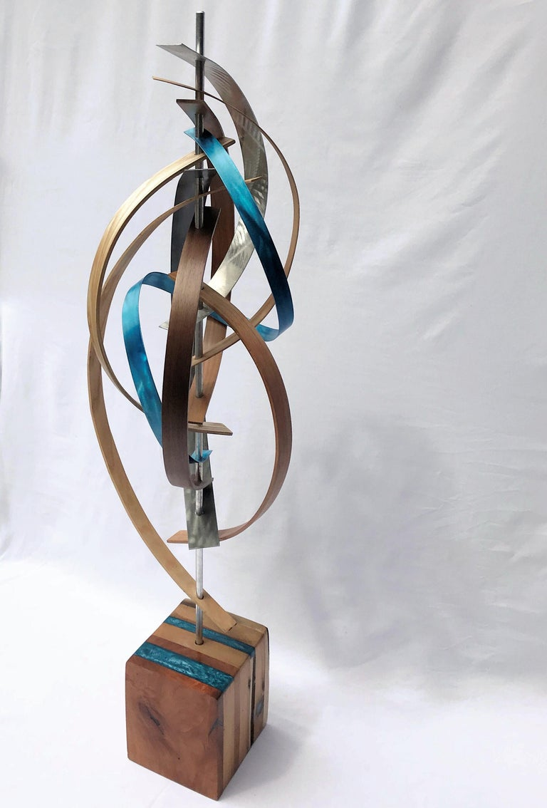 Wood and Metal Free-Standing Sculpture Mid-Century Modern Contemporary Rustic  For Sale 3