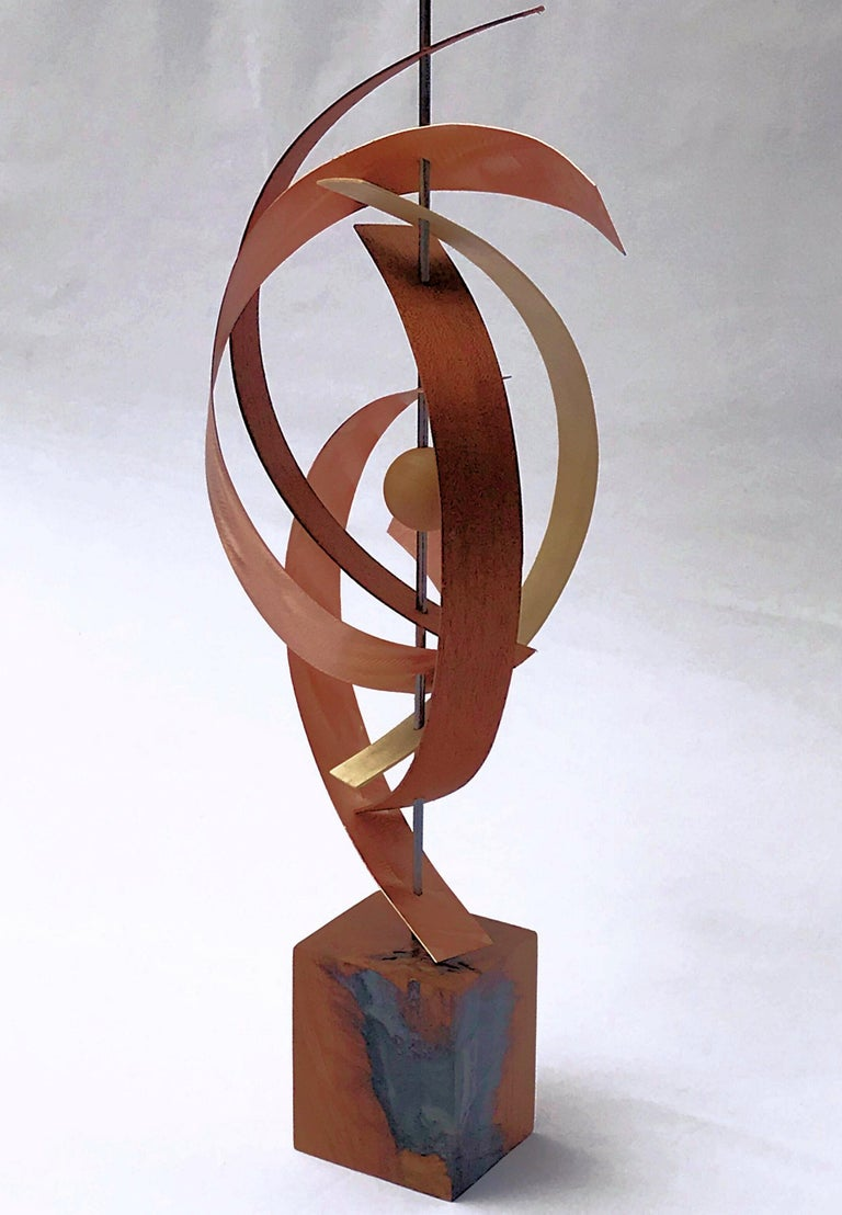 Modern Mid-Century Copper Rustic Wood Free-Standing Sculpture Decor Linenkugel  2