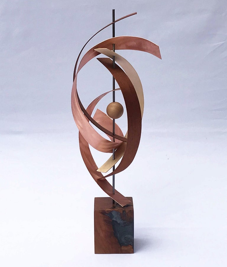 Modern Mid-Century Copper Rustic Wood Free-Standing Sculpture Decor Linenkugel  3