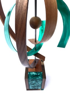 Modern Wood Metal Free-Standing Rotating Sculpture Original Contemporary Art