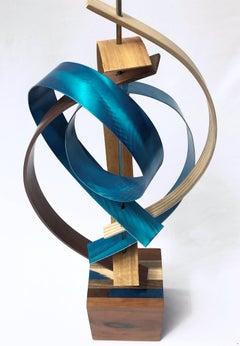 Modern Wood Metal Free-Standing Sculpture Original Contemporary Art Linenkugel