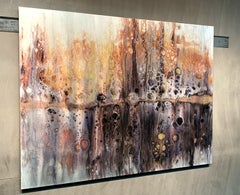 Modern Abstract Giclee on Metal Wall Decor Pour Painting Original by Cessy