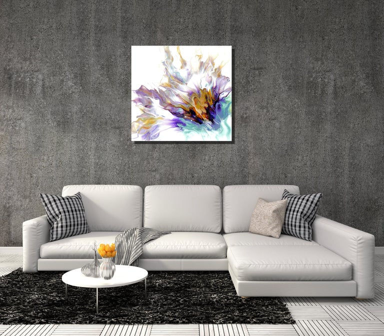Contemporary Modern Abstract Metal Art, Large Painting Giclee Print on Metal  - Gray Abstract Painting by Sebastian Reiter