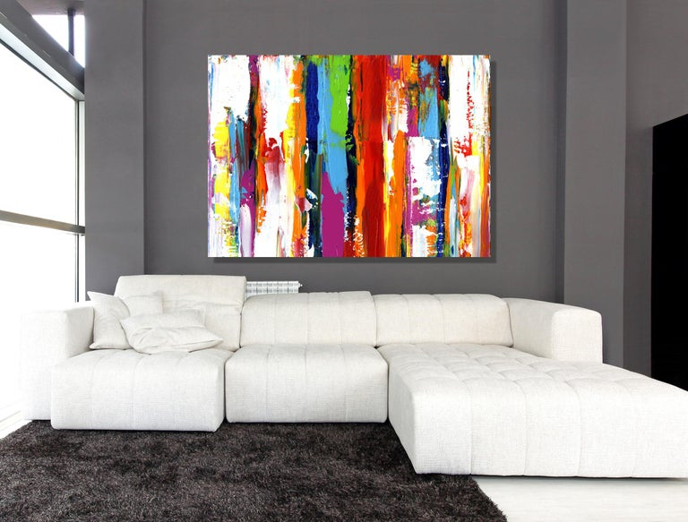 Contemporary Colorful Abstract Painting, Modern Giclee Print on Metal, by Cessy  For Sale 1
