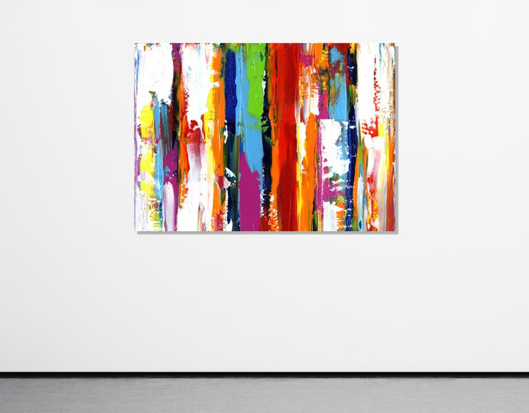 Contemporary Colorful Abstract Painting, Modern Giclee Print on Metal, by Cessy  For Sale 3