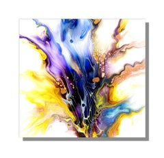 Modern Industrial Abstract Giclee Print on Metal, Contemporary Painting by Cessy