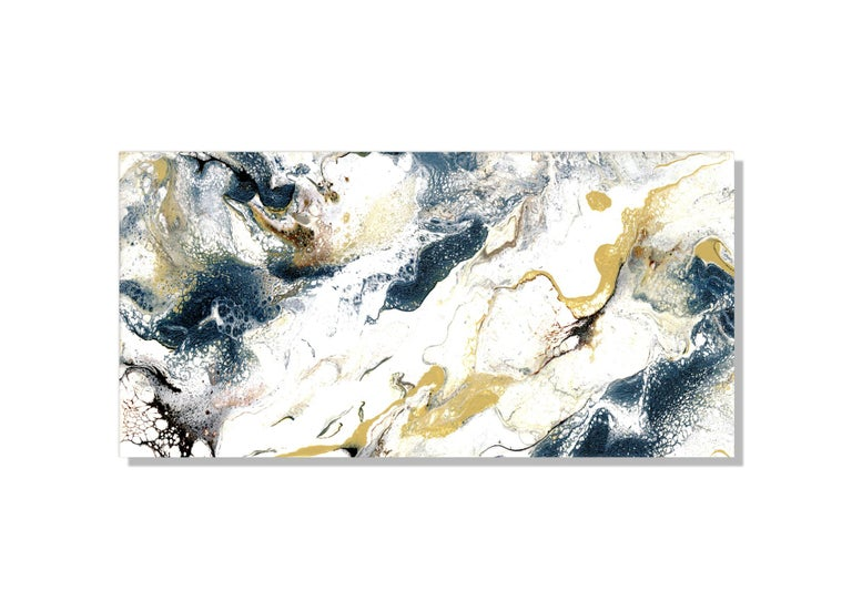 This industrial modern abstract painting is comprised of brown, blue, gold, and white. Printed on a lightweight metal composite, your artwork comes ready to hang. The automotive high-gloss clear coat offers both UV protection and high-end