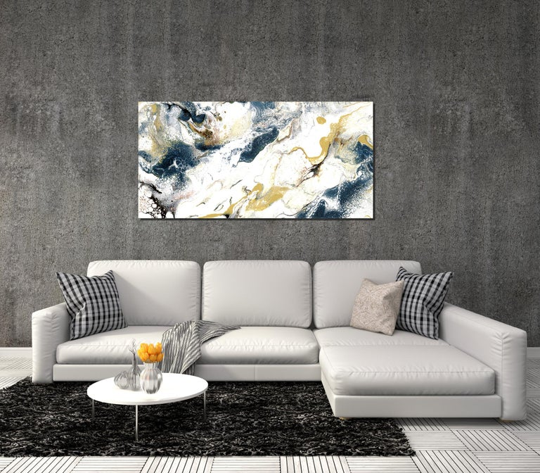 Industrial Modern Contemporary Giclee Print on Metal Abstract Painting by Cessy  For Sale 1