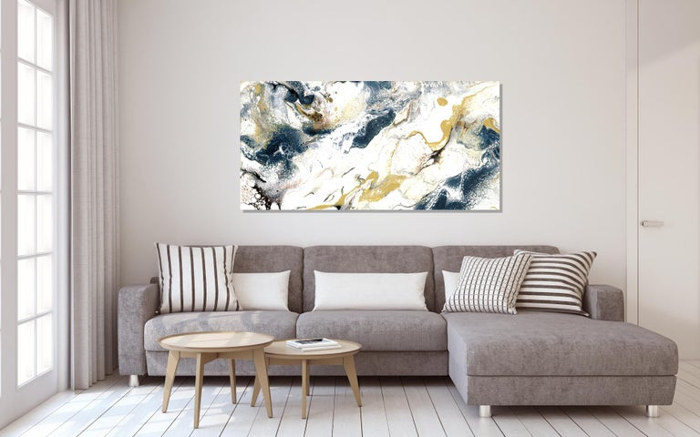 Industrial Modern Contemporary Giclee Print on Metal Abstract Painting by Cessy  For Sale 2