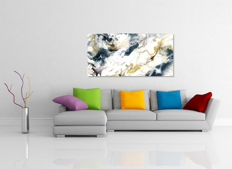 Industrial Modern Contemporary Giclee Print on Metal Abstract Painting by Cessy  For Sale 3