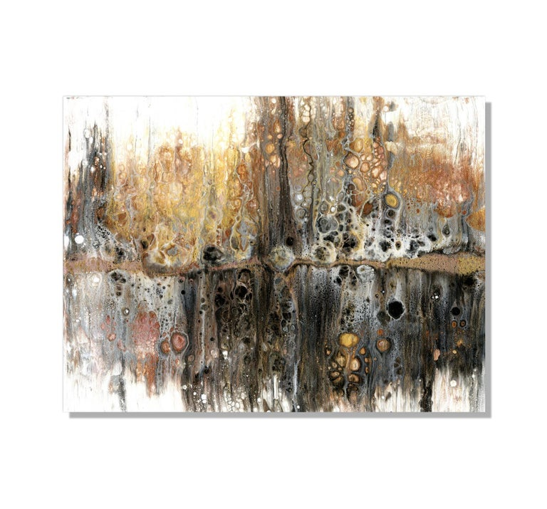 This contemporary abstract painting include warm tones of gold, copper, brown, black, and white. Printed on a lightweight metal composite, your artwork arrives ready to hang. The automotive high-gloss clear coat offers both UV protection and