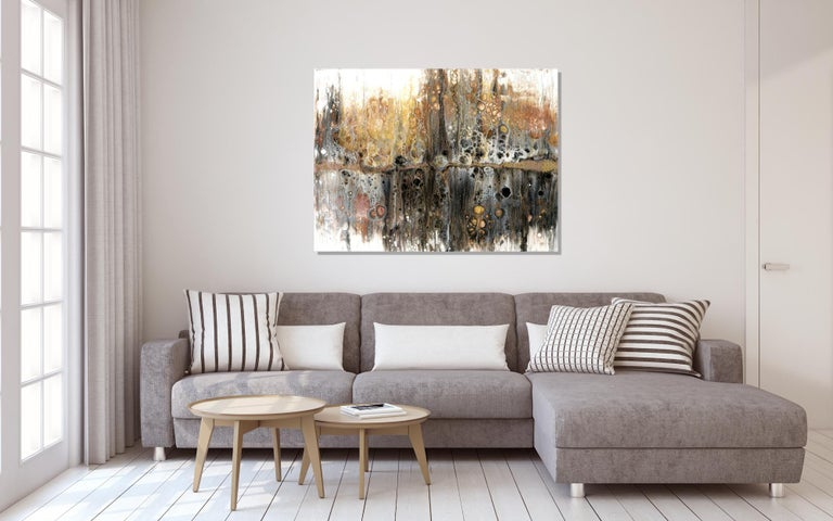 Large Contemporary Abstract Painting, Modern Giclee Print on Metal, by Cessy  For Sale 1