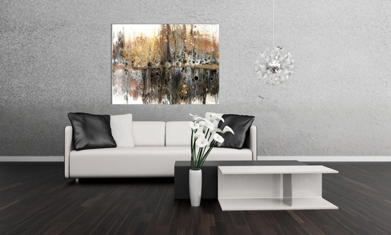 Large Contemporary Abstract Painting, Modern Giclee Print on Metal, by Cessy  For Sale 3
