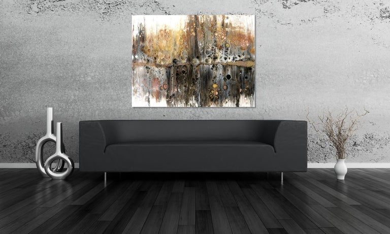 Large Contemporary Abstract Painting, Modern Giclee Print on Metal, by Cessy  For Sale 4