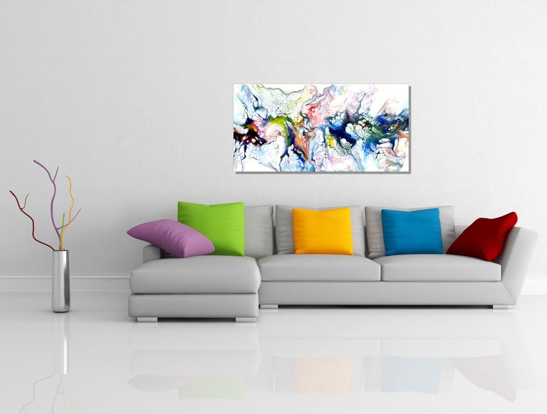 Industrial Modern Contemporary Giclee Print on Metal Abstract Painting by Cessy  For Sale 4