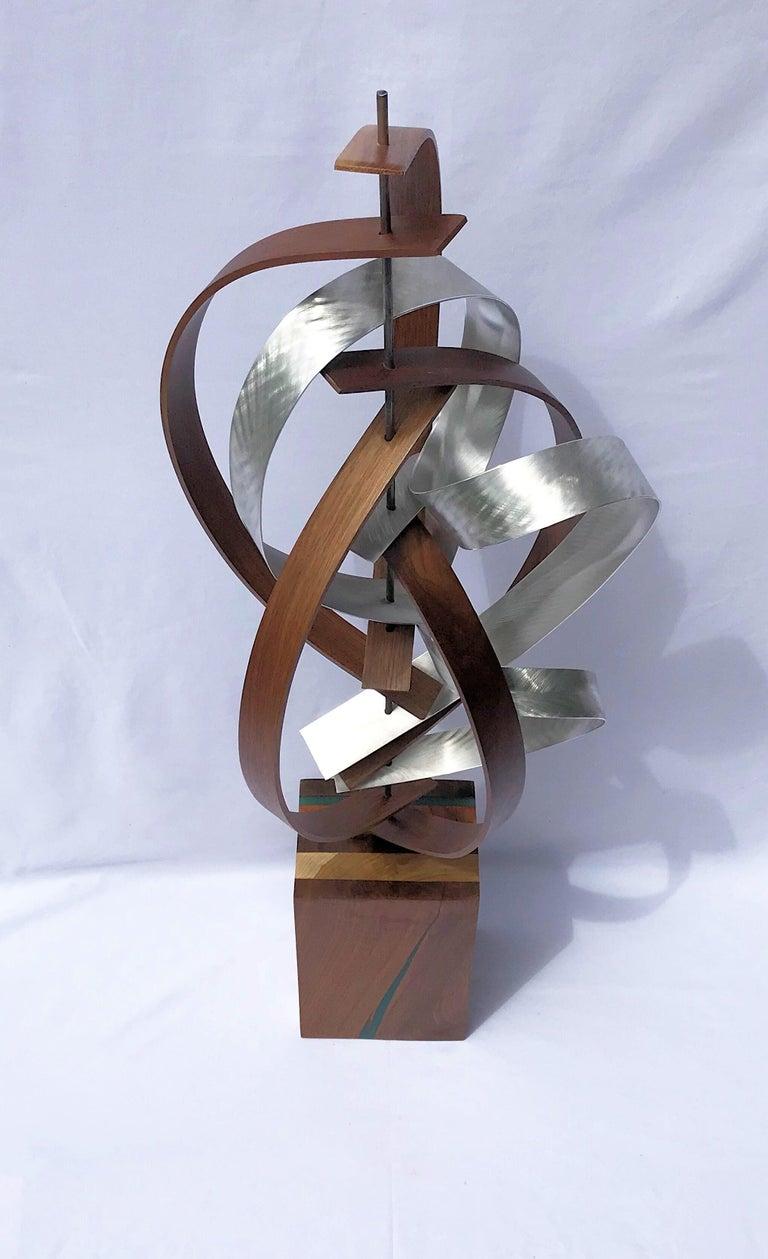 Mid Century Modern Wood Metal Free-Standing Sculpture Original Contemporary Art  4