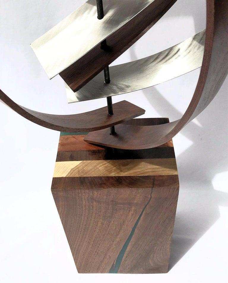 Mid Century Modern Wood Metal Free-Standing Sculpture Original Contemporary Art  6