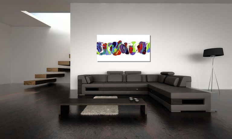 Modern Contemporary Abstract Painting Giclee Print Art on Metal by Cessy  For Sale 2