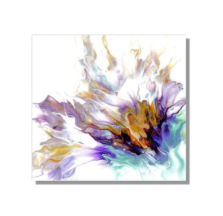 This ultra-modern painting piece boasts explosive colors of orange, blue, purple, red, gold, and laced with beautiful details throughout. Printed on lightweight metal composite, your artwork comes ready to hang. The automotive high-gloss clear coat