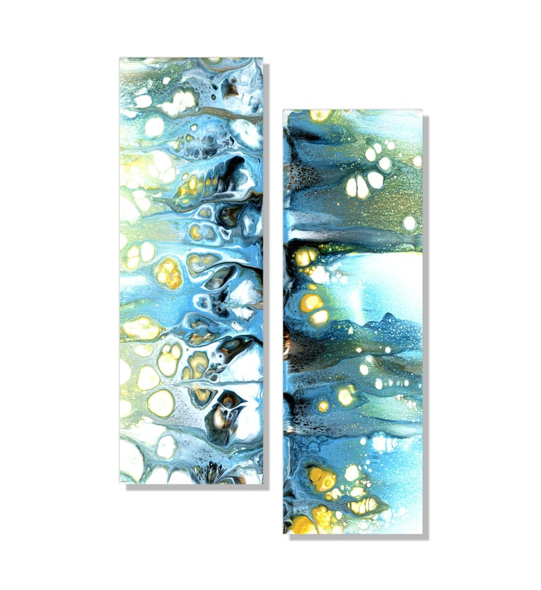 This contemporary abstract painting include blue, green, yellow, and white. Printed on a lightweight metal composite, your artwork arrives ready to hang. The automotive high-gloss clear coat offers both UV protection and high-end modern finish. This