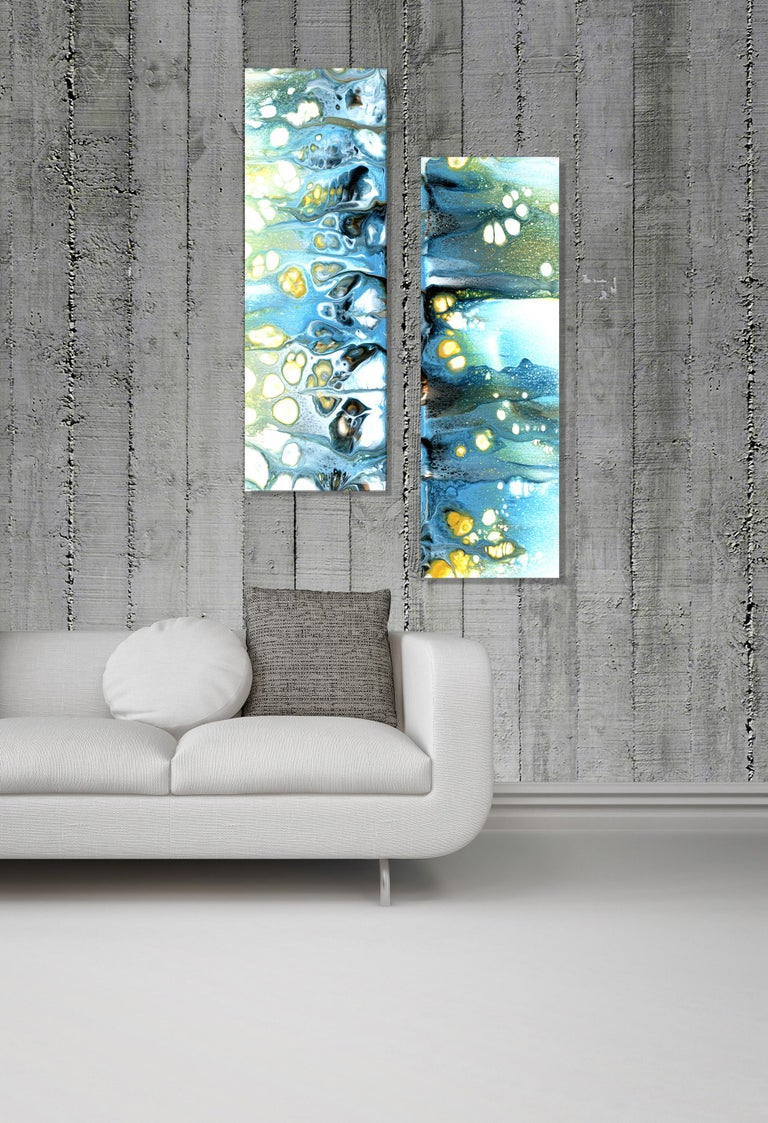 Large Contemporary Abstract Painting, Modern Giclee Print on Metal, by Cessy  For Sale 2