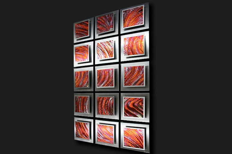 Multi-Panel Wall Sculpture, Modern Contemporary Copper Metal Art, by Sebastian R For Sale 1