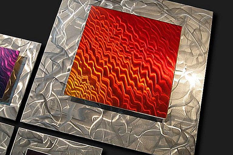 Modern Contemporary Metal Art, Multi-Panel Wall Sculpture, by Sebastian R For Sale 4